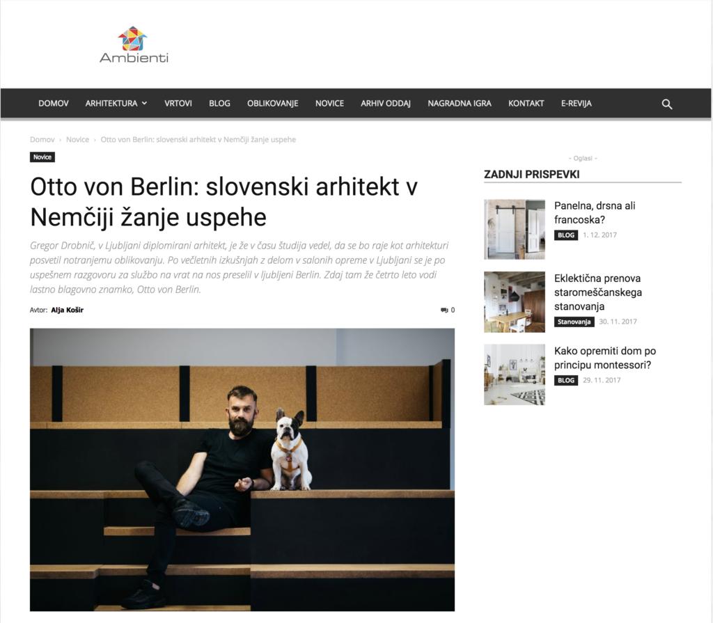 TV Ambienti Slovenia Otto von Berlin Interior Design